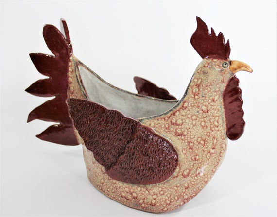Rooster Planter - Ceramic Rooster - Planter - Utensil Holder - Napkin Holder - Centerpiece - Country Decor -  Rustic Decor - Farm House