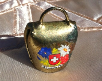 "Vintage 40's  ""MINI SWISS COWBELL"" -Engelberg Souvenir Charm or Pendant"
