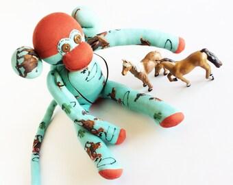 Cowboy Sock Monkey - Desert Cowboy Sock Monkey - Sock Monkey - Mint Sock Monkey - Green Sock Monkey - Wild West Cowboy - Southwest