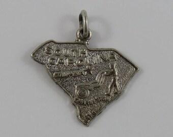 Map of South Carolina State Sterling Silver Vintage Charm For Bracelet