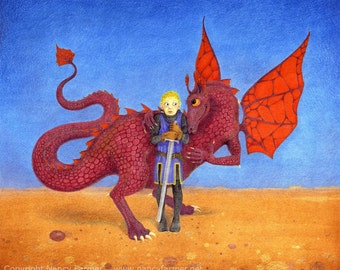"Dragon picture - ""The Amorous Dragon"" - fantasy art print of a boy St George and an affectionate lady dragon in love. Nancy Farmer art."