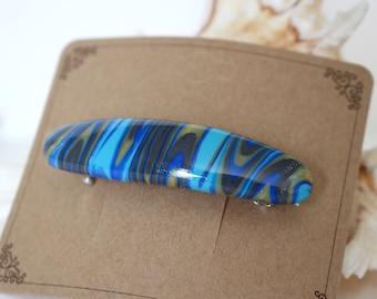 Hair Clip 2.3 inch Hair Bow,Hair Pin, Hair Slide,French clip, Hair barrette, Polymer Clay,Shawl Pin, Hair comb Blue Turquoise color