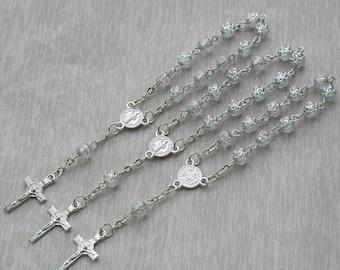 24 Pcs Rosebud Mini Rosary Favor for Baptism / Christening / First Communion / Sweet 15 / Wedding / Recuerdos de Bautizo - JA164-Clr