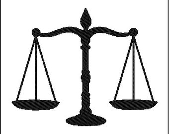 Scale Balance Law Embroidery Design
