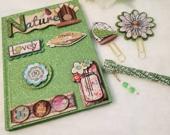 Altered composition book/journal/beads/Limegreen/SALE