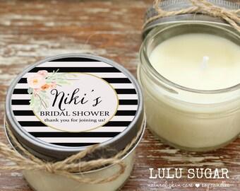Set of 12 - 4 oz Soy Candle Bridal Shower Favors - Niki Label Design - Baby Shower Shower Favors // Girl Baby Sprinkle Favors