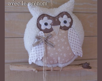 OWL fabric on a small branch drift wood
