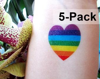 Rainbow Heart Tattoo 5 Set - Jewel Flash Tattoos - LGBT Temporary Tattoos - Beach Tattoos - Summer Love Tat Pack - Colorful Tats Gay Pride