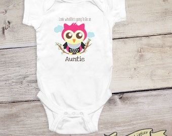 Aunt uncle stylish littles baby announcement onesie baby reveal shirt to aunt uncle grandma or grandpa cute owl baby negle Images