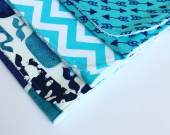 Burp Cloths / Blue Whale / Arrows / Set of 3 / Baby Boy / Flannel and Terry Cloth / Large and Absorbent / FREE SHIPPING in USA
