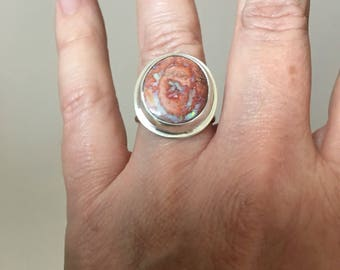 Size 9 Sterling Silver Mexican Fire Opal Ring