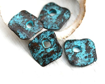 Cornflake chunky charms, organic Green patina square charms, greek metal casting beads, verdigris, metal casting - 13mm - 4Pc - F265