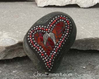 Red Valentine Heart, Angel Wings, Mosaic Paperweight / Garden Stone