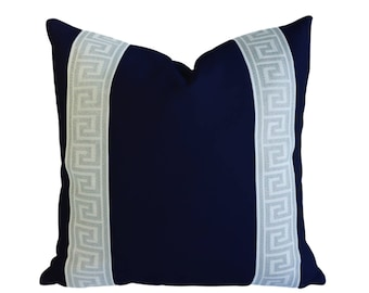 Navy Blue Designer Canvas Pillow Cover Grey White Greek key ribbon trim All Size Available