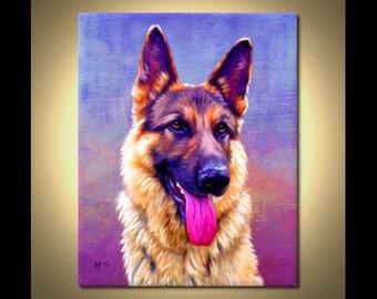 German Shepherd Portrait | Custom German Shepherd Portrait | German Shepherd Painting From Your Photos | German Shepherd Art Iain McDonald