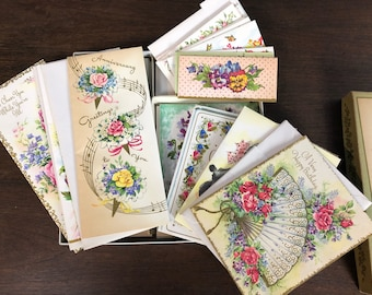Vintage 1950's NIB New Old Stock Box of 24 Floral All Occasions Greeting Cards and Envelopes Made in the USA