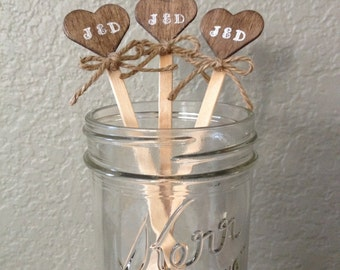 20 Wooden Drink Stirrers Initials with burlap bow Heart shape - Coffee Stirrer