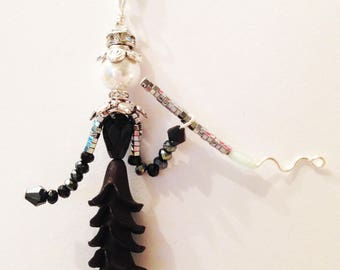 Whimsical jewelry people, wearable art, bead people necklace, little people, Little Sidekicks - HOLLY