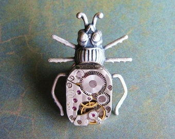 Clockwork Beetle - Oxidized Silver Plated Steampunk Bug Beetle Brooch, Tie Pin Tie Tack or Lapel Pin with Gift Box