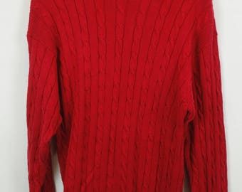 Vintage Sweater, Vintage Knit Pullover, 80s, 90s, red, long, oversized look