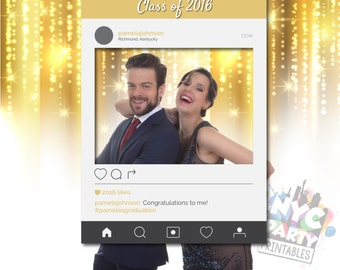 IG Frame, Graduation PhotoBooth, Photo Booth Frame, PRINTABLE, Personalized, CHANGE Color, Occasion, Hashtags & Profile Picture