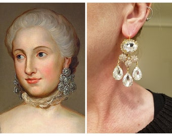 18th Century Girondole Earrings - Reproduction Georgian Paste - 18th Century Jewelry - Marie Antoinette Jewelry