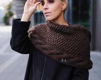 Infinity scarf | Brown knitted scarf | Neck warmer | Chocolate scarf | Oversized knit scarf | Handmade scarf | Fall winter | Kotè design