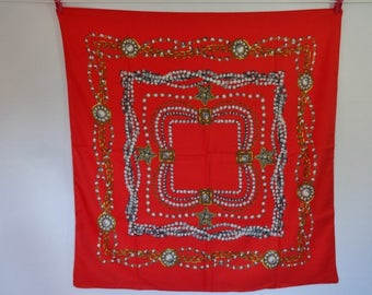 Vintage Scarf Totes red chain Baroque Versailles Style 77cm x 76cm