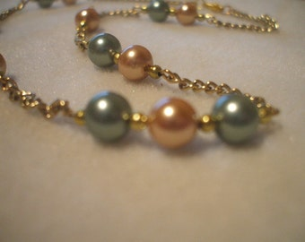 Classy Gold/Sage or Olive Pearl Necklace