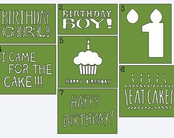 Birthday Stencils - Onesie Decorating/Painting - Baby's First Birthday - Photo Prop Onesie