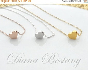 ON SALE Love Heart Necklace, Dainty Necklace, Simple Jewelry, Modern Necklace, Gold Necklace, Rose Gold Necklace, Gift for her, Mom