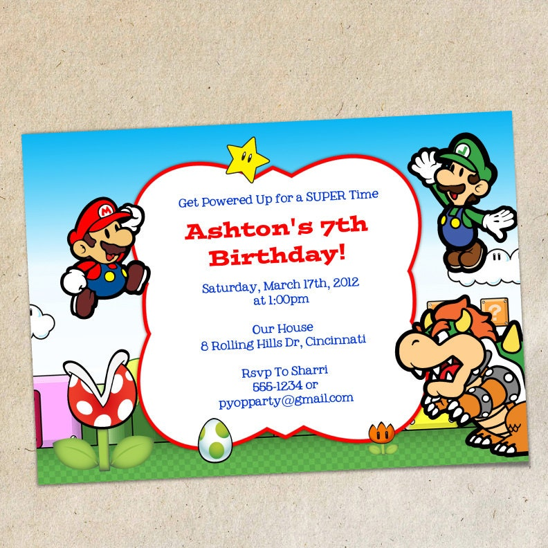 mario party invitation template - Kardas.klmphotography.co