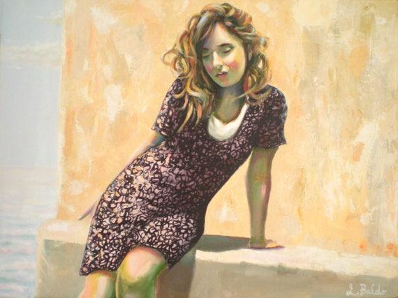 Quadro girl portrait mixed technique painting on canvas x