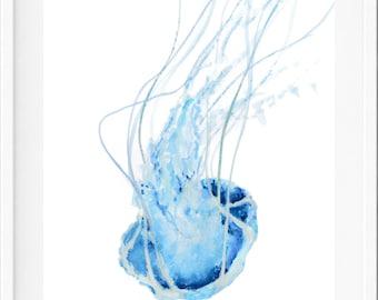 Jellyfish Art Print, blue, watercolour, wall art print, beach decor, beach house decor, beach art, coastal art, beach house art
