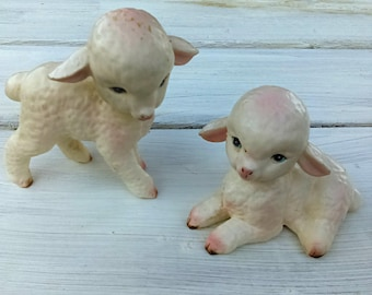 Vintage Lefton Collectible/Lamb Pair/1950s/Discounted Sold AS IS/Original Seal/Collectible/Nursery/Made in Japan
