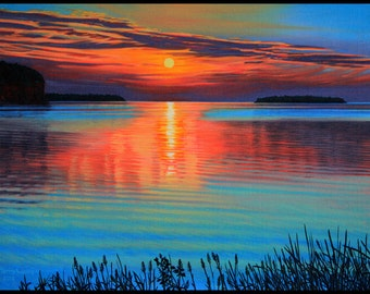 """Landscape Art Print - """"Door County Sunset"""", Limited Edition Giclee Print on Fine Art Paper, 12"""" x 16"""""""