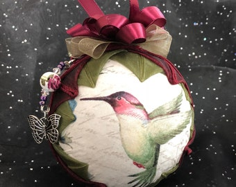 "4"" Handcrafted Quilted Custom-Made Hummingbird Ornament"