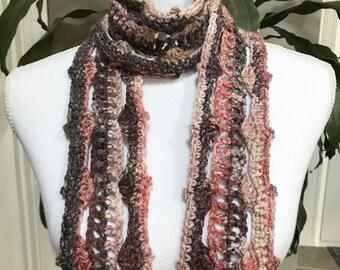 Rustic Rose Plum Lacy Vintage Crochet Scarf ~ Any Season Scarf ~ Long Fringe Scarf ~ Boho Trendy Hippie Gypsy