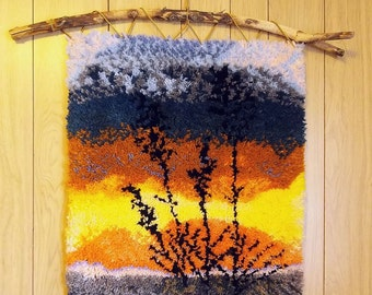 "Latch Hooked Wall Hanging ""Yucca Sunset"""
