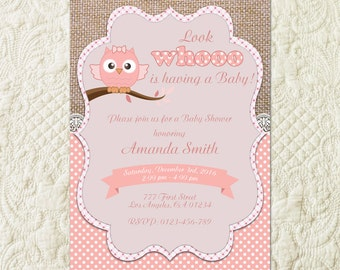 Owl Girl Baby Shower Invitation, Pink Owl Baby Shower Invitation, Owls Baby Shower Invitation, Owl Baby Shower Invite, Owl Baby Invites
