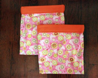 Orange & Pink Floral - Double Snuggle Sack Set for Small Animals