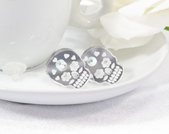 Mirror Acrylic Etched Sugar Skull Post Earring with Swarovski Crystal
