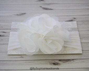 White Flower Headband, White Baby Headband, Big Flower Headband, Flower Girl Headband, White Big Flower Headband, Baptism Headband, 914