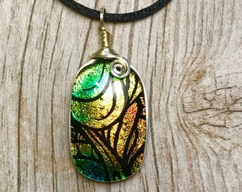 Rainforest  Dichroic Glass Pendant, Dichroic Glass Jewelry