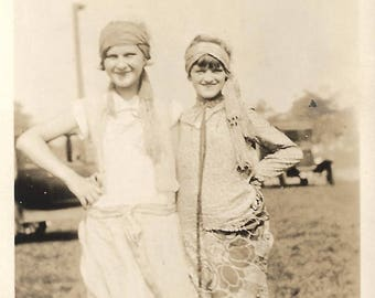 "Vintage Snapshot ""Teenage Flappers"" Pretty Girls Flapper Dresses Headbands Shoes 1926 Found Vernacular Photo"