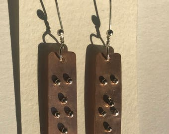 Beautiful handmade silver and copper earrings