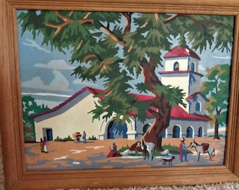Vintage Paint by Number Mexican Village Church Scene 16 by 10 inches