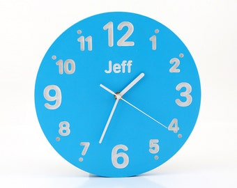 Children's room Nursery Wall clock for kid's room with your choice of name on it Blue color  birch wood hand painted