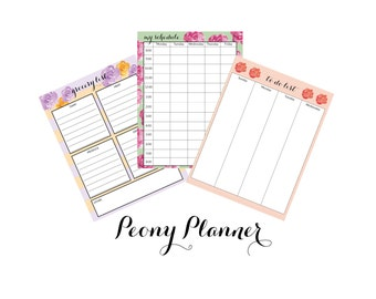 Peony Planner Pages