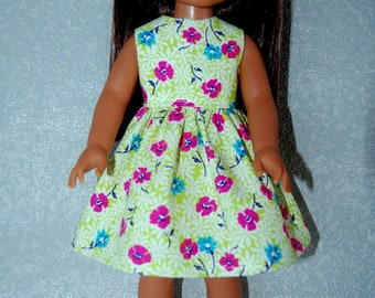 "Dress for 14.5"" Wellie Wishers or Melissa & Doug Doll Clothes handmade lime green flowers tkct1228 rts READY TO SHIP"